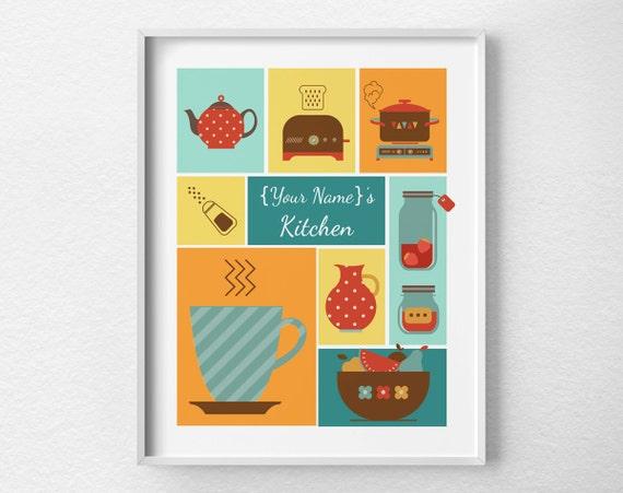 Custom kitchen print kitchen decor retro kitchen poster for Handmade kitchen decoration