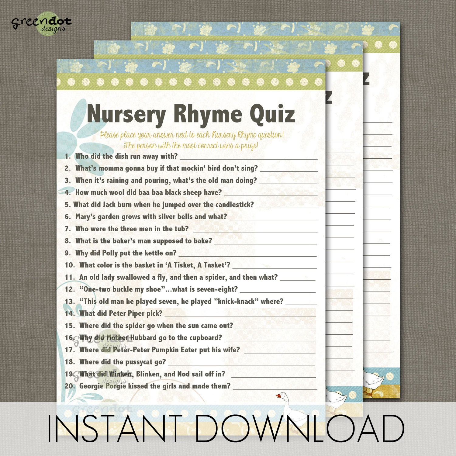 INSTANT DOWNLOAD Nursery Rhyme Quiz Baby Shower by ...
