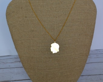 Silhouette Charm Necklace/ Gold Plated Chain/ 18 inches