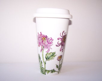 Pink Chrysanthemum Travel Mug, Double-Walled