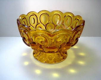 L E Smith Moon and Stars Amber Candy/Compote Dish