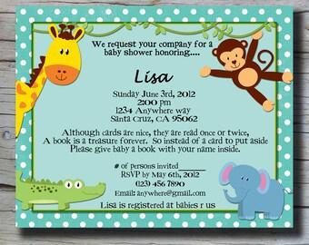 Blue Animal Baby Shower Invite