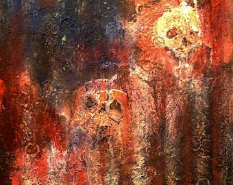 Skulls and American flag abstract painting