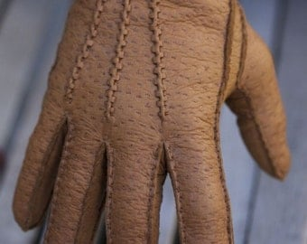 Men's Peccary Leather Gloves Cashmere lining Handsewing Brown Black Cognac Dark Brown Handmade Winter Gloves