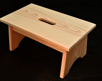 """Wood Step Stool with Handle Hole Unfinished Pine 16""""L x 9""""W x 7.5""""H"""