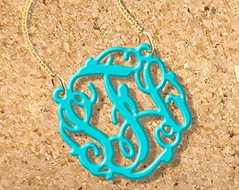 Monogram Necklace Acrylic initials personalized necklace