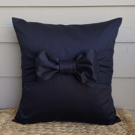 Decorative Pillow With Bow : Black Pillow Cover. Bow Pillow Cover. Decorative Pillow Cover.