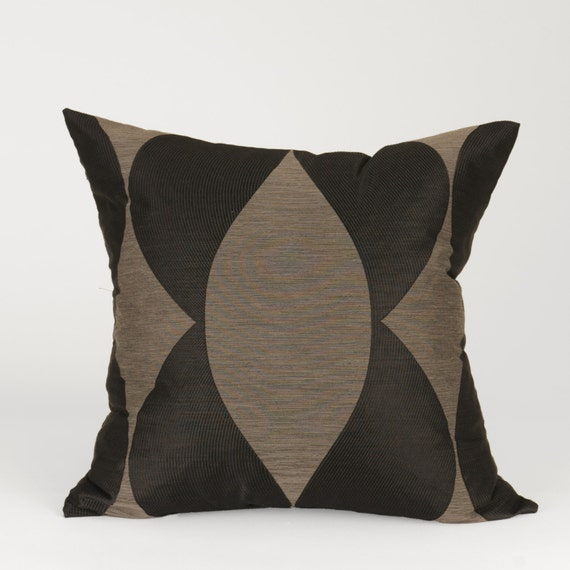Modern Black and Grey Square Decorative Pillow Cover with