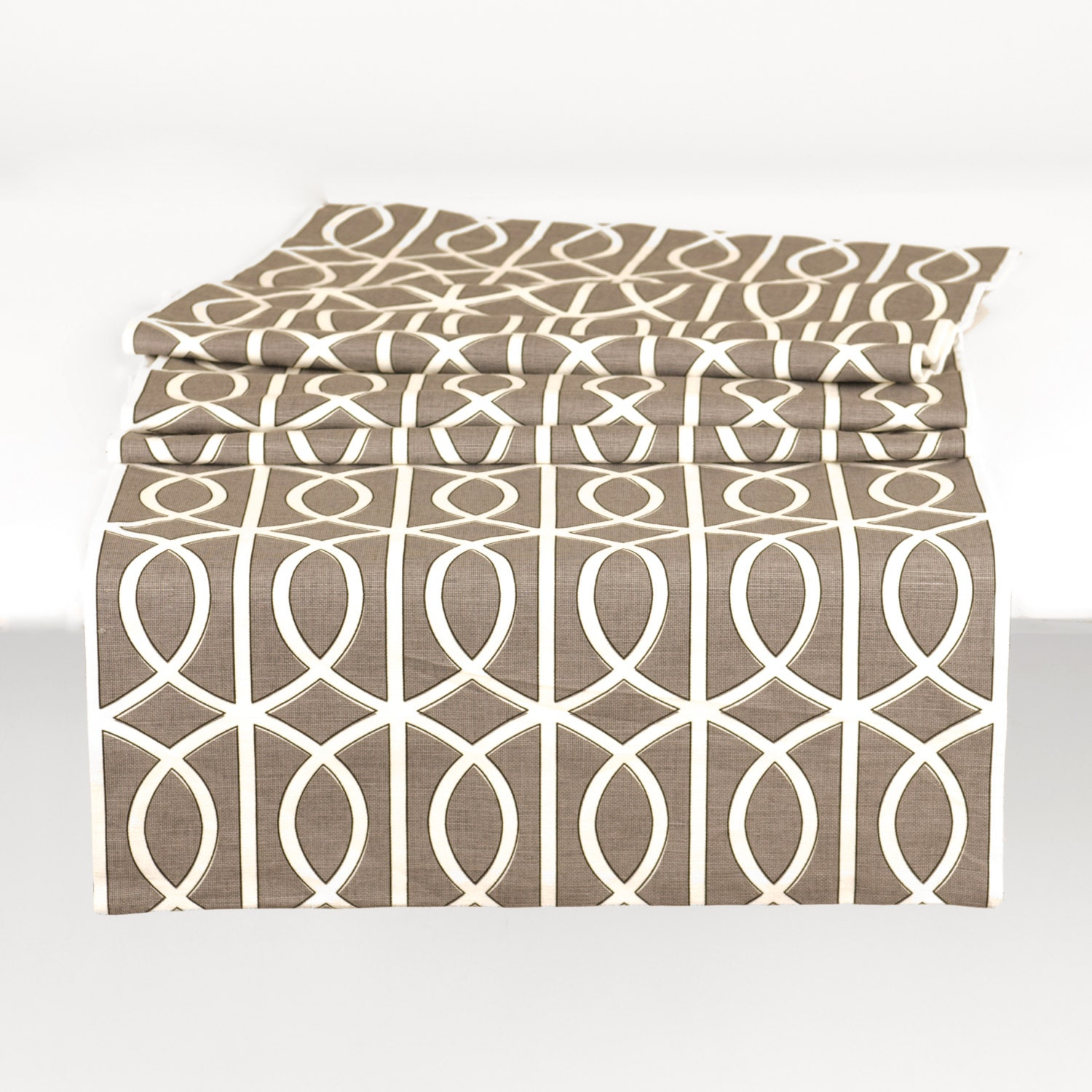 Kitchen Or Dining Room Table Runner With Geometric Print Grey
