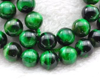 Green Tiger Eye smooth Round  beads 10mm,38 pcs