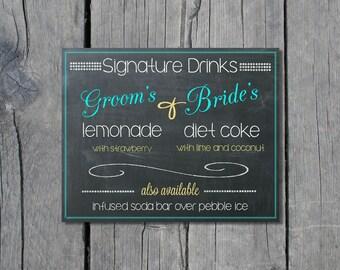 8x10 Instant Download Wedding Sign Chalkboard Signature Drinks