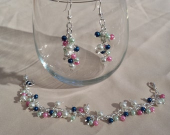Pearls & Silver - Cluster Earrings with Bracelet - SET - Pink, Blue, White
