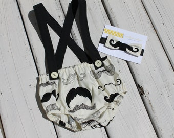 Mustache Diaper Cover with Suspenders and Bow Tie