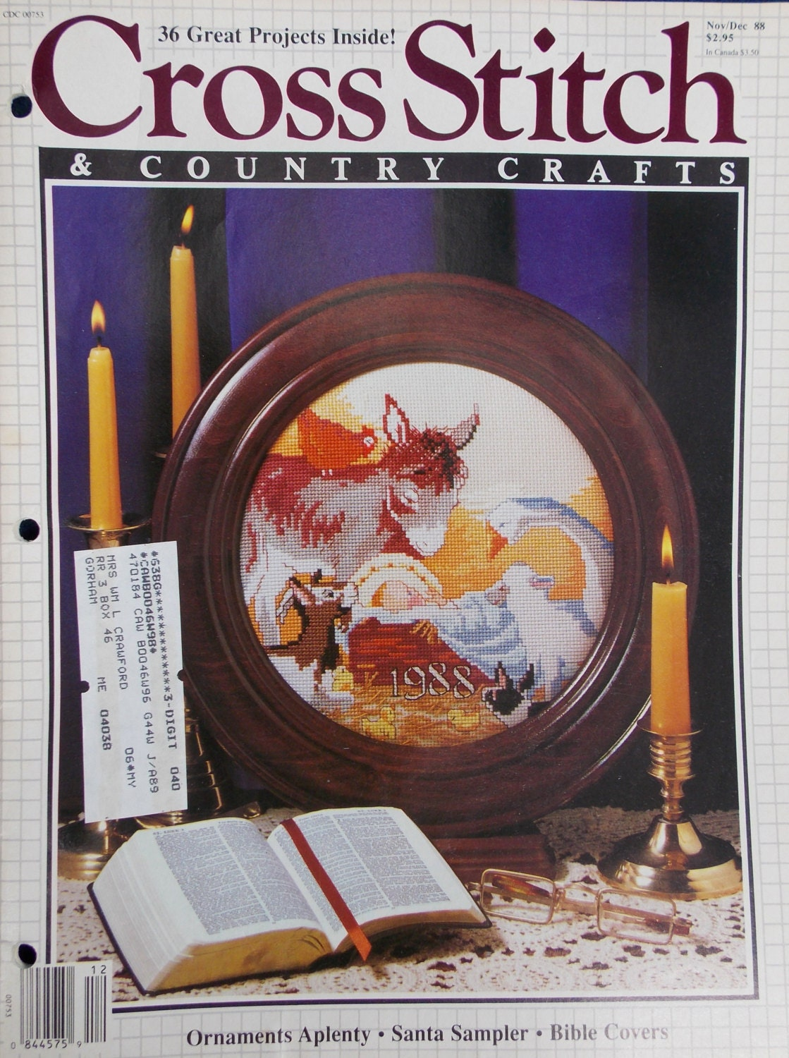 Cross stitch country crafts magazine back issues - 1988 Cross Stitch And Country Crafts Magazine 6 Vintage Issues Sold By Grammiejennie 10 99