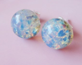 Pastel Opal Round Glass 9mm Post Earring