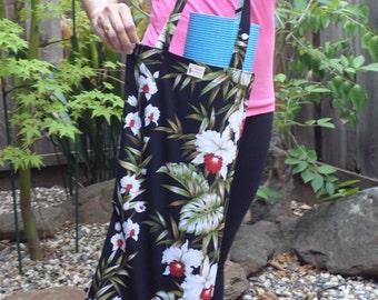 Handmade Slim Tote Bag - Yoga Mat Tote Bag - Hula Bag - Cotton Orchid Strands in Black