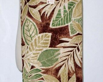 Handmade Slim Tote Bag - Yoga Mat Tote Bag - Hula Bag - Cotton Big Tropical Leaves on Brown