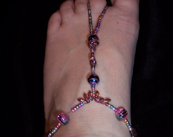 Handcrafted Multicolored Glass Beaded Barefoot Sandals #181