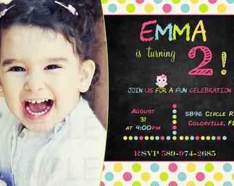 Chalkboard invitation - birthday invitation - owl chalkboard invitation - chalkboard party - girl pink invitation - owl invite