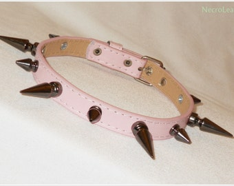 Pink Spiked Collar - Faux Leather Spiked Choker