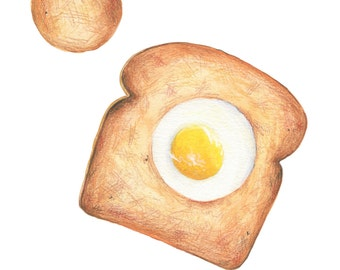 Egg Toast Art // Food Illustration // Art Print, yellow
