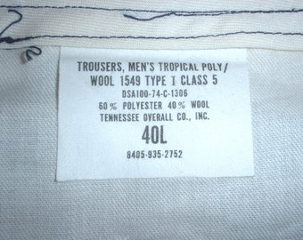 US Air Force blue polyester/wool summer service trousers 40 Long; Tenn. Overall Co. 1974