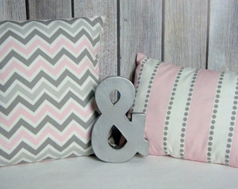 Nursery Pillow. Pink Pillow. Grey Pillow. Chevron Pillow. Accent Pillows.