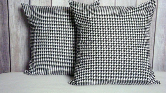 Black and White Houndstooth Pillow Covers Set of Two 18x18