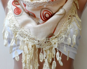 Christmas shawls, Cream lace scarf, Super elegant scarf, cotton scarf, cream scarf,Summerscarf, fringed scarf, Women, fashion, trend,guipure