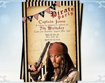 Pirates of the Caribbean Birthday Invitation Card Pirate invite Jack Sparrow invite
