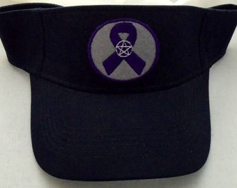 Sun Visor Hat Wicca Pagan Purple Ribbon Pentacle/Pentagram Center Embroidery wiccan clothing