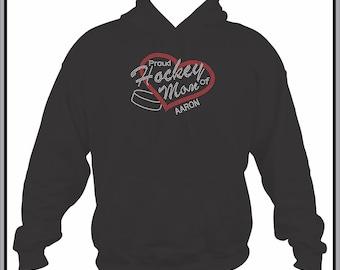 Hockey Mom Sweatshirt/ Hockey Mom Hoodie/ Rhinestone Hockey/ Proud Hockey Mom of Players Name Number Custom Personalized Hoodie Sweatshirt