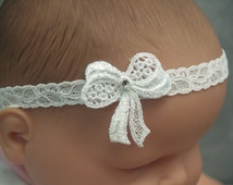 Baptism Baby Hair Stretch Lace Headband with Bow and crystal, Christening, White Outfit, Pageant Wear, Shower Gift, Everyday, Blessing Day