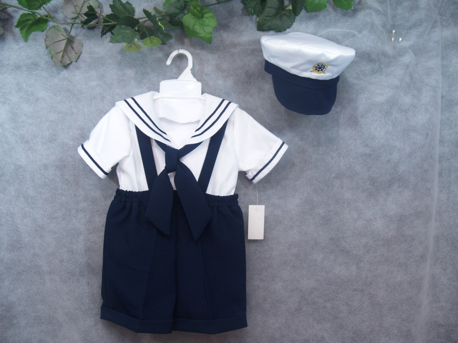 Toddler Boy Sailor Outfit Shorts With Captain Hat Sailor