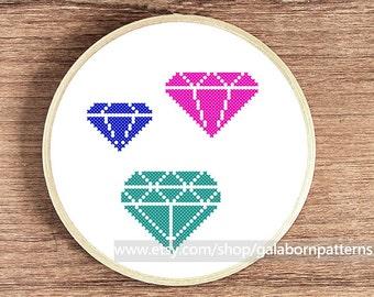 Diamond collection 2 - Counted cross stitch pattern PDF - Geometric - Luxury
