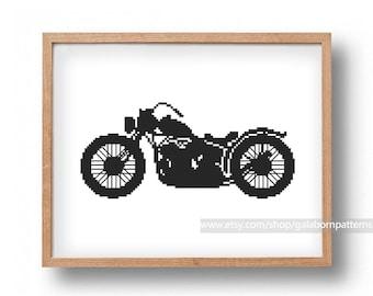 Motorcycle - Сross stitch pattern PDF - Father's Day gift - Boy's room decor - Boyfriend