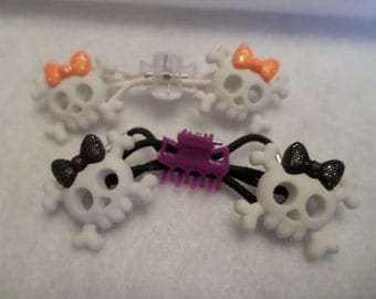 Sugar Skull Elastics, Day of the Dead Accessory, Halloween Pony Tail Holders, Kawaii Skulls, Girls Halloween, Retro Holiday Accessory