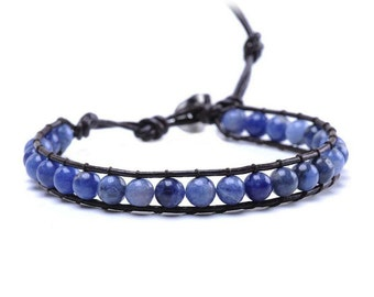 Single Wrap Beaded Bracelet - Blue - Large Beads