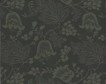 Dutch Chintz - Licorice/Green Black - Ton sur Ton FQ