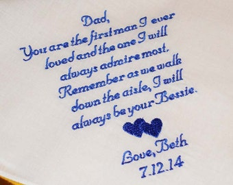 Father of the Bride Handkerchief, First Love with FREE Gift Box - Thread Born Memories