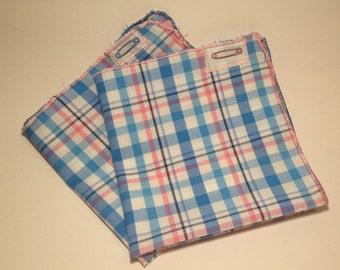 A Blue-Pink Tartan Pocket Square