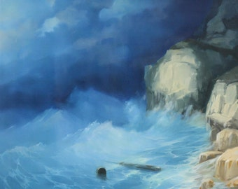 After Storm Original oil Painting on Linen Copy from H. Ayvazovsky Handmade art 25 x 32 in Varnished