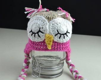 Crochet Sleepy Owl Hat Photo prop