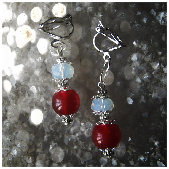 Silver Clip-On Earrings with Red Ruby & White Facetted Opal