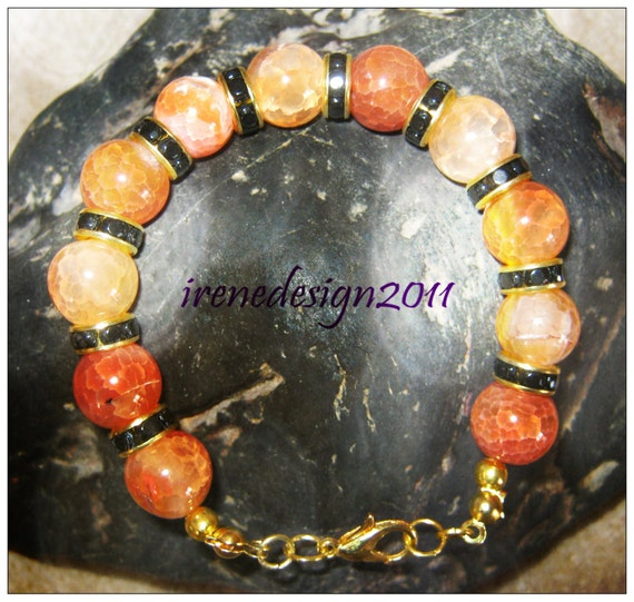 Handmade Gold Bracelet with Yellow Dream Dragon Fire Vein Agate by IreneDesign2011