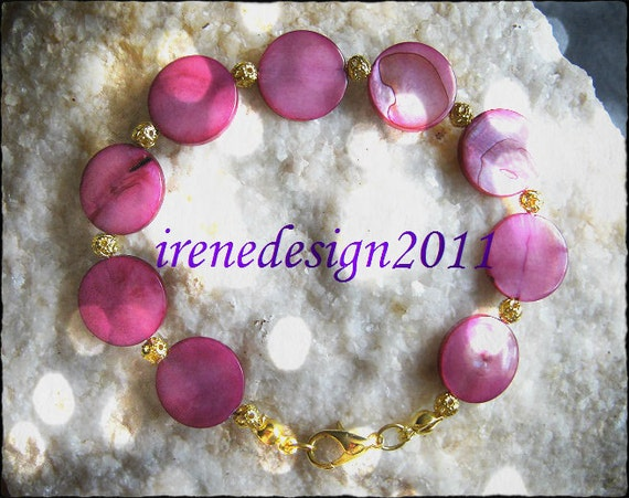 Handmade Gold Bracelet with Pink Seashell Coins by IreneDesign2011
