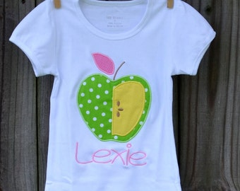 Personalized Apple Applique Shirt or Onesie Girl