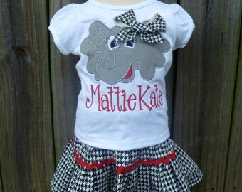 Personalized Football Alabama Elephant Roll Tide Face Applique Shirt or Onesie