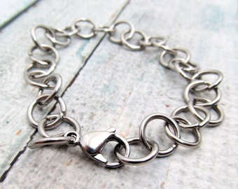 Stainless Steel Bracelet Chain - Finished Bracelet 10x10mm chain - Stainless Steel Chain - Large Bracelet  Stainless Steel Bracelet (062)