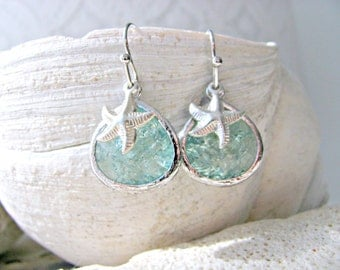 Erinite Earrings & Silver Starfish  Silver Starfish Earrings Aquamarine Earrings Beach Wedding Starfish earrings Bridesmaid march birthstone